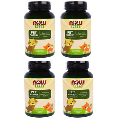 4X NEW NOW FOODS PETS PET ALLERGY SUPPLEMENT HEALTHY IMMUNE SYSTEM FOR DOG CATS