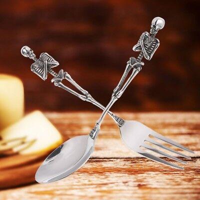 316L Stainless Steel Cutlery Skeleton Fork And Spoon Skull Metal Flatware ()