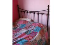 black cast iron style metal bed frame - vintage feel - double
