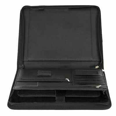 Zippered Leather Folder Portfolio Binder Card Holder Documents Storage Organizer
