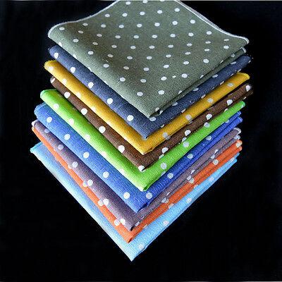 Men Classic Linen Cotton Polka Dots Pocket Square Handkerchief Wedding Hanky