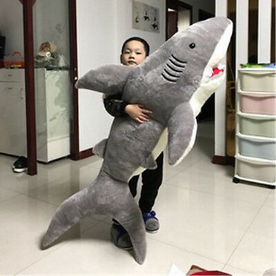 78 Giant Gray Shark Plush Toy Bed Doll Stuffed Big Animal Birthday Gifts 180Cm