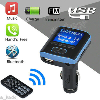 i6 Car Kit Bluetooth Handsfree FM Transmitter Dual USB Charger LCD MP3 Player  q
