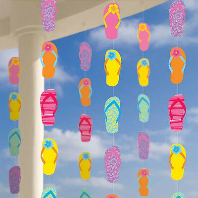 Flip-flop Party Supplies (Flip Flop Hanging String Decorations Tropical Beach, Summer Party Supplies ~ 42')