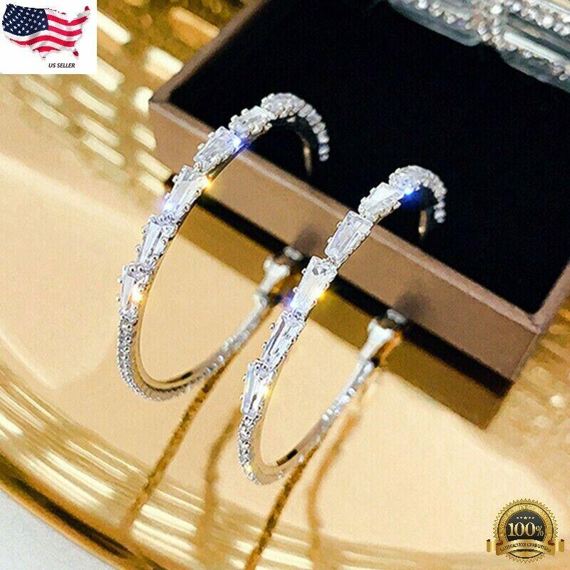 Jewellery - Gorgeous Hoop Earrings Women 925 Silver Jewelry White Sapphire Free Shipping