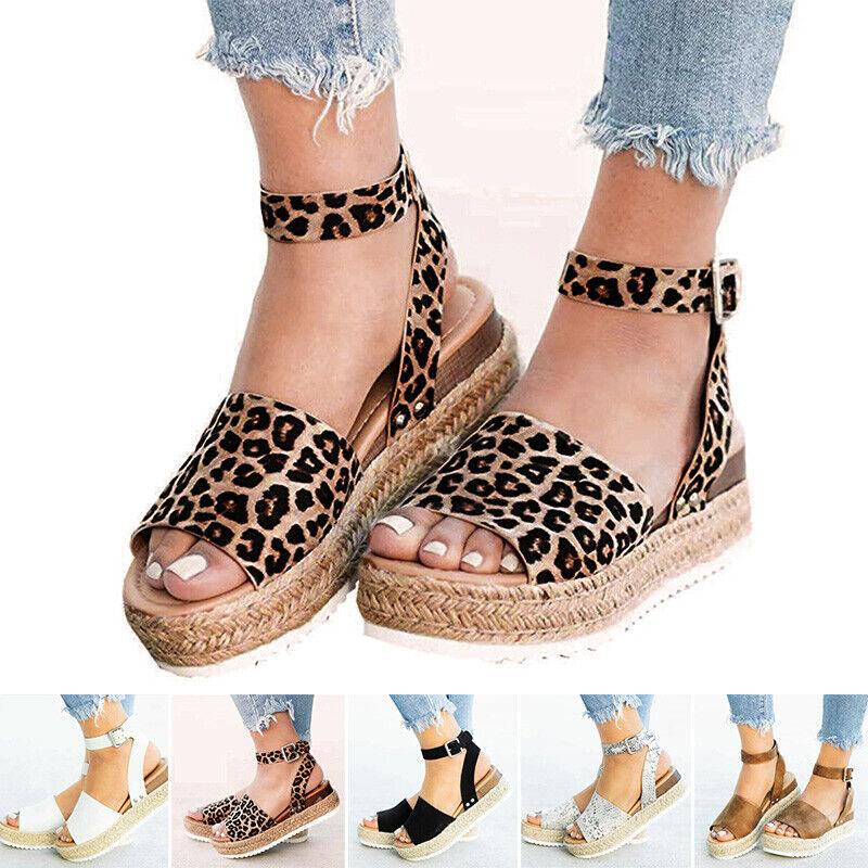 NEW Women's Leopard Ankle Strap Espadrille Straw Wedge Platform Open Toe Sandals