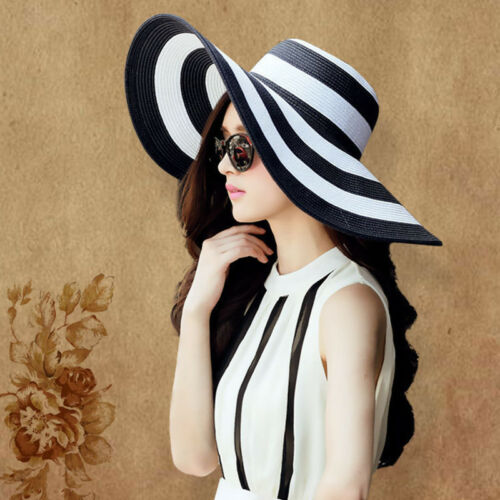US Women's Summer Large Floppy Folding Wide Brim Stripe Cap