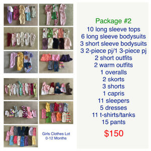 Girls clothing size 0-12 months