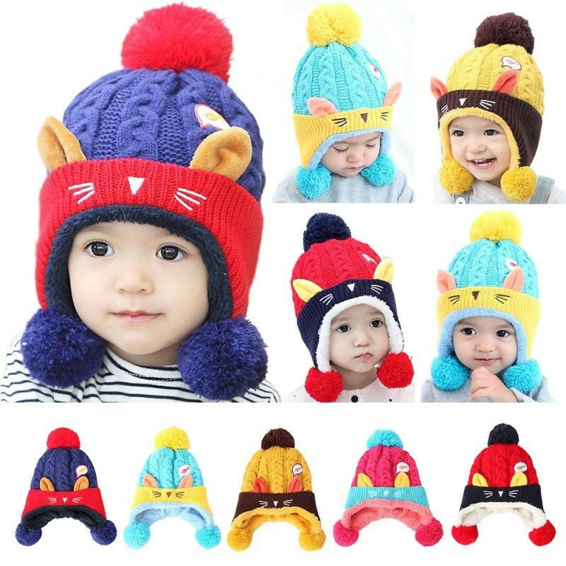 Toddler Kids Girls Boys Knitted Warm Cap Baby Winter Earflap Cat Crochet Hat New