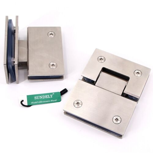 Pair Heavy Duty Satin Stainless Steel 8-12mm Glass Door Hinge Bracket