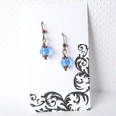 Copper Crystal Earrings - Lightweight Vintage Victorian Style Copper Light Blue Crystal Dangle Earrings