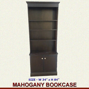 "HIGH QUALITY MAHOGANY BOOKCASE - WIDTH 34"" X HEIGHT 84"""