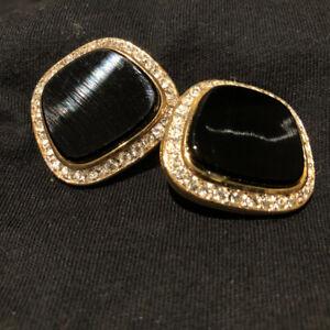 Nina Ricci Clip-on Earrings  - Faux Black Onyx with Rhinestones