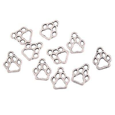 - 10pcs Dog Footprint Beads Charms Tibetan Silver Pendant DIY Bracelet 12*11mm