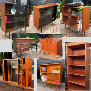 REFINISHED MCM Teak Walnut Bookcases Shelves Displays from $199