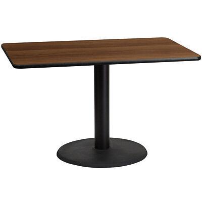 30 X 48 Rectangular Walnut Laminate Table Top W 24 Round Table Ht Base