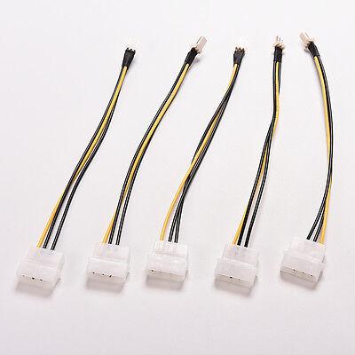 5 Pcs 4-Pin Molex/IDE to 3-Pin CPU/Case Fan Power Connector