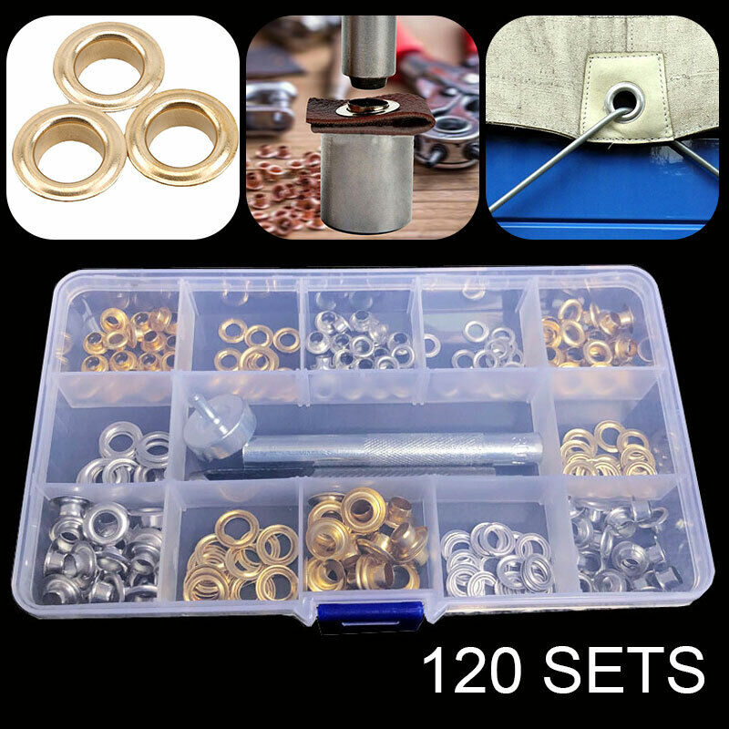 Grommet Kit 120 Sets Grommets Eyelets with 3 Pieces Install Tool Kit, 2 Colors