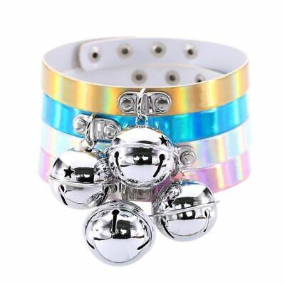 Bell Necklace (Collar Rivet Buckle Women Holographic Bell Punk Choker Laser Necklace)