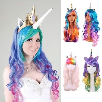 Women Costume Long Curly Rainbow Unicorn Gothic Lolita Cosplay Drag Race - Unicorn Costume Wig