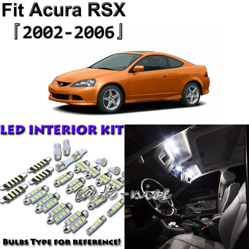 8 X White Interior LED Lights Package Kit For Acura RSX