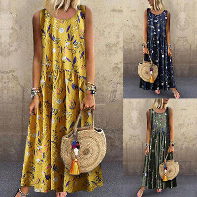 Vintage Womens Sleeveless Boho Floral Printed Baggy Casual Maxi Dress Plus AAA