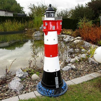 XXXL LEUCHTTURM ROTER SAND 88 cm mit BLINKLICHT Garten Deko maritim Nordsee MEER