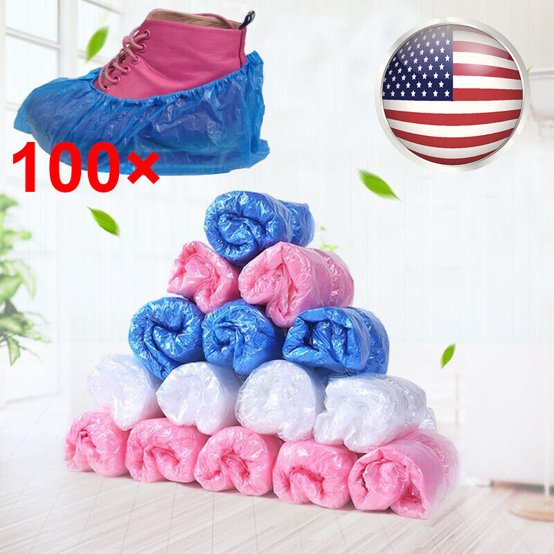 100pcs Thick Disposable Home Shoe Cover Non-slip Medical Booties Waterproof Kit