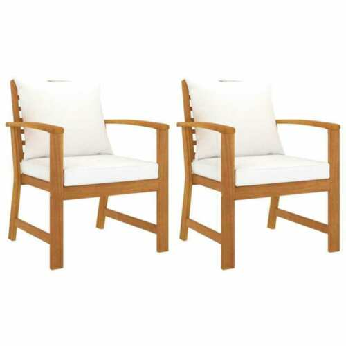Garden Furniture - Patio Chairs 2 Set Cushioned Chairs Outdoor Garden Dining Furniture Wooden NEW