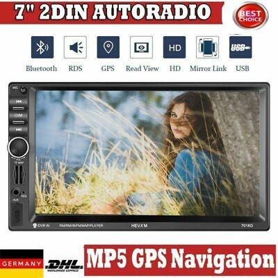 "7"" 2 DIN Autoradio GPS Navi 1080P Car Stereo Bluetooth Touch MP5 Player USB DHL"