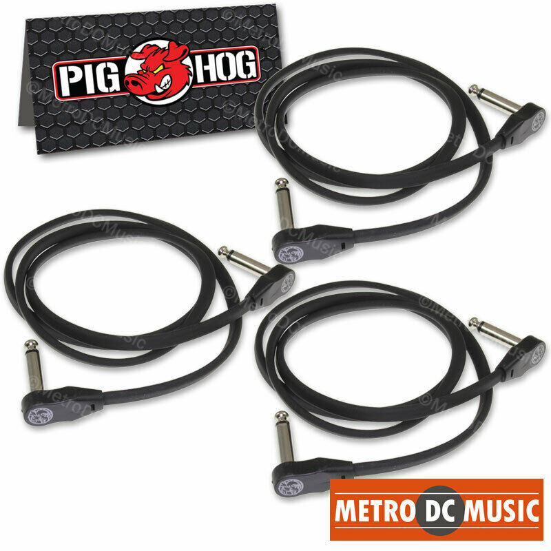 """3-Pack Pig Hog Low Profile Flat 36"""" Right-Angle Patch Cable Cord Pedal 3 ft NEW"""