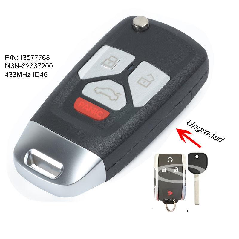 Upgraded Flip Remote Key 433MHz ID46 for 2015 GMC Chevrolet FCC: M3N-32337200