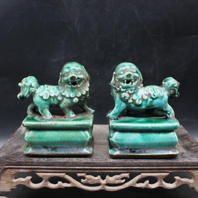 Chinese Old Marked Green Glazed Pair Porcelain Foo Dog Palace Lions