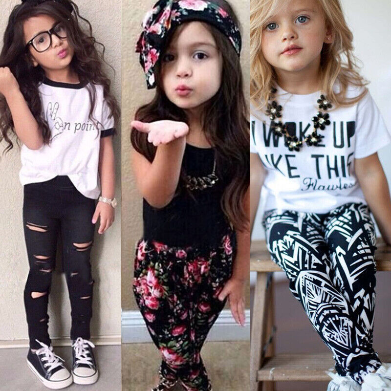 Toddler Kids Baby Girls Outfits Clothes T-Shirt Top + Pants