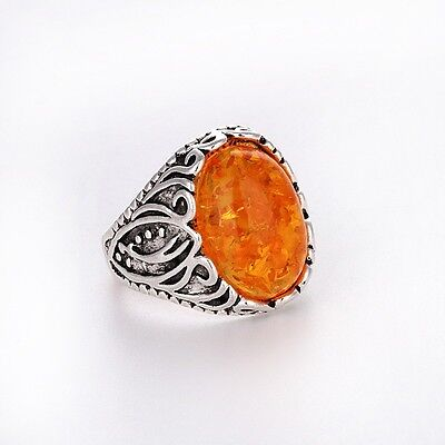 Unique Men/Women Silver amber RING NEW Fashion Jewelry FREE SHIPPING Size Pick