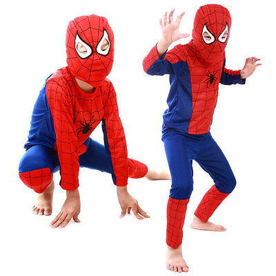 Halloween Costume Party Cosplay For Kids Boys Girl Red Spider-Man Suit Sz S M - Kids Spider Halloween Costume