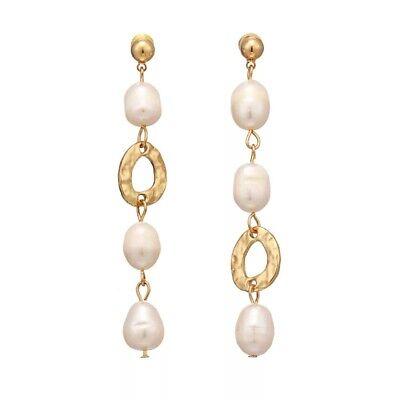ZARD Cultured White Baroque Pearl Linear Drop Dangle Asymmetric Earrings  Baroque Pearl Drop Earrings