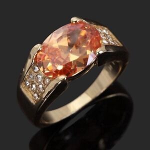 Mens 10K Yellow Gold Filled Champagne Topaz Ring, 11.25 - New