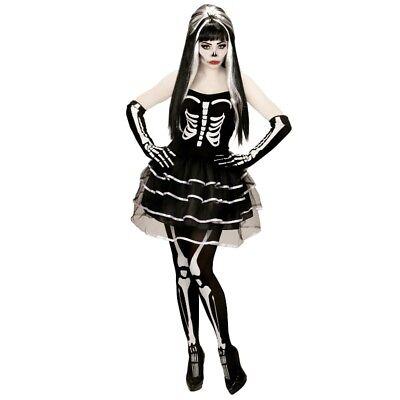 SEXY Damen Kostüm SKELETT LADY Gr. L (42/44) - Weiß Skeleton Girl Kostüm