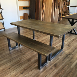Stained pine dining table with bench