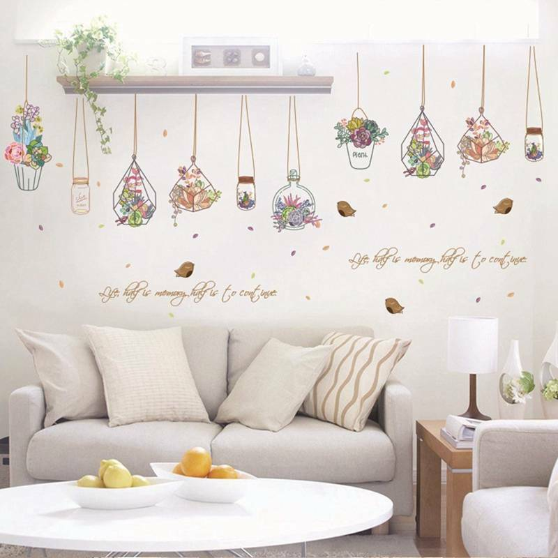 Hanging Potted Flowers Plants Wall Stickers Living Rooms Bedroom Art Decorations