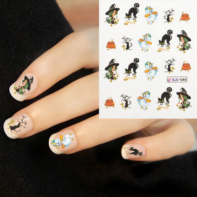 Halloween Nail Art Water Decals Transfers Scary Cat Ghost Witch Tree - Halloween Tree Nail Art
