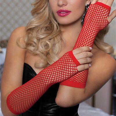 Red Fingerless Fishnet Gloves