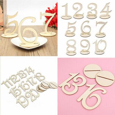 Holz 1-20 Tischnummern Anzahl Zeichen stehen Hochzeit Party Dekoration DE