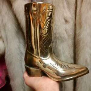 All Brass Cowboy Boot, possible Vase - $50