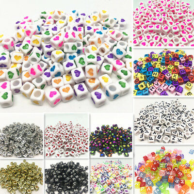 NEW 200pcs 6x6mm Mixed Alphabet/Letter Acrylic Cube Beads  Heart shaped - Letter Beads