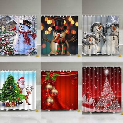 Christmas Snowman Fabric Waterproof Bathroom Shower Curtain Set With 12x Hooks (Shower Curtains Hooks)