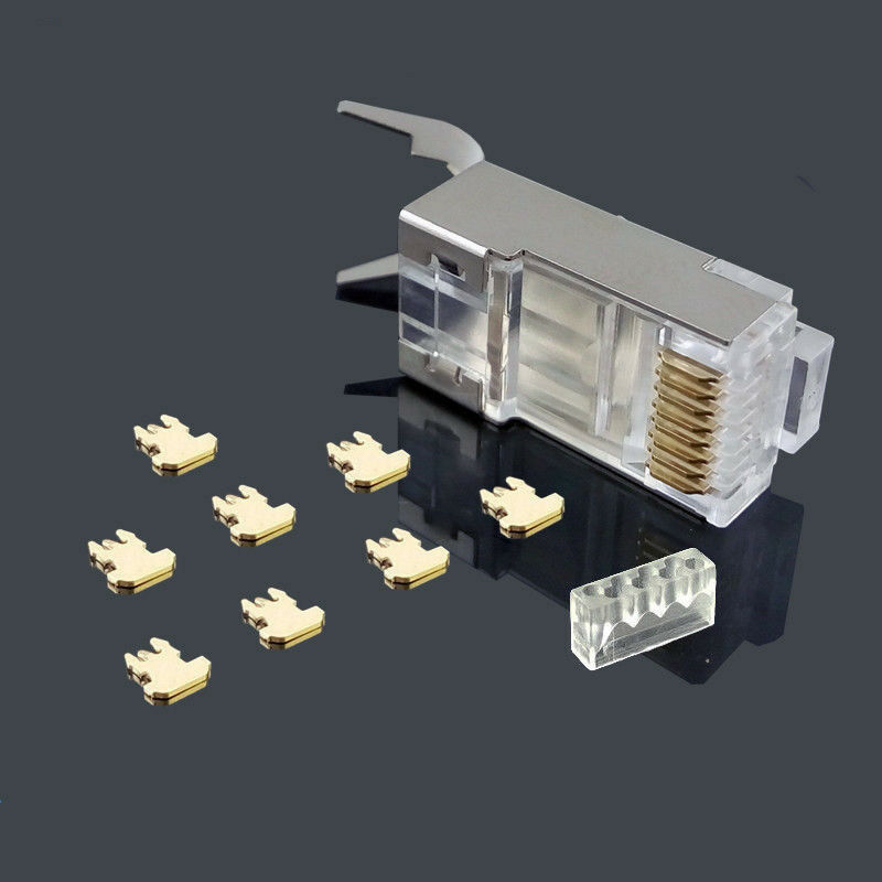 20PCS CAT7 RJ45 Crystal Shielded Modular Plug Connector With External Ground