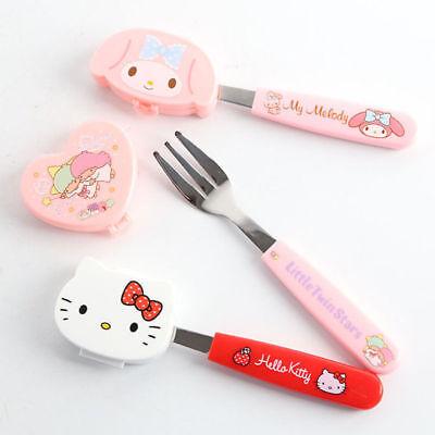 Hello Kitty Fork Stainless Steel Dinnerware Friut Snack Fork Tableware W/ Case - Hello Kitty Snacks