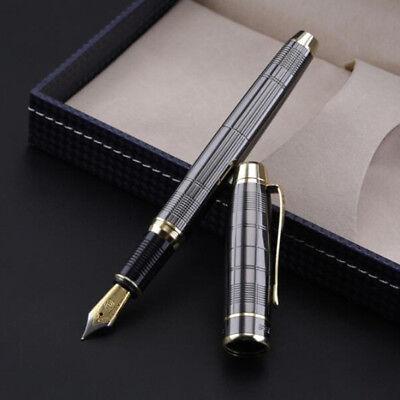 2018 Hero 953 Gun Grey Plaid Metal China Fountain Pen Fine Nib 0.58mm Box Gifts